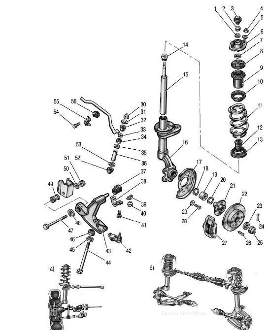 Схема передней подвески шевроле ланос